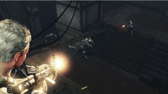 使用機槍在中部高建築集中防守