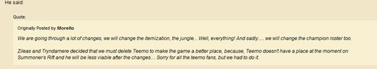 官網論壇流言:提莫很可能會在S3被刪除 - 外服新聞 - League of Legends - LOL英雄聯盟中文網 - LOL騰訊官方合作網站 - 英雄聯盟 -(LOL.UUU9.COM)