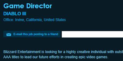 暴雪招聘《暗黑破壞神3》遊戲總監