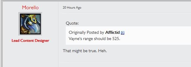 Morello:薇恩射程或將調整至525
