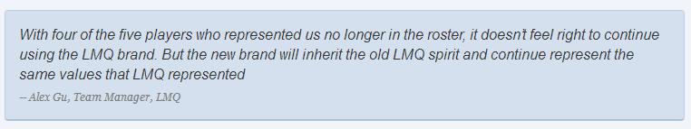 更名換陣再戰S5 北美LMQ戰隊或成歷史