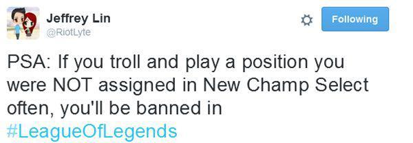 LOL設計師推特爆料:違反新版LOL預選位模式規則會被封號!